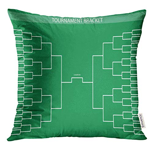 (Golee Throw Pillow Cover Basketball Green Soccer Baseball Tournament Bracket for Your Design Champion Ship Trendy Style Football Decorative Pillow Case Home Decor Square 16x16 Inches Pillowcase )