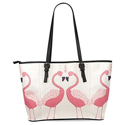 InterestPrint Flamingo Love Women's Leather Tote Shoulder Bags Handbags]()