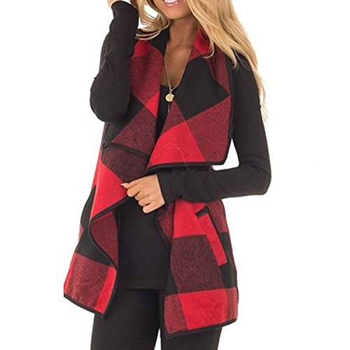 Leggings Plaid Wool (HELIDA Women Color Block Sleeveless Lapel Pocket Plaid Waistcoat Jacket Cardigan S Red)