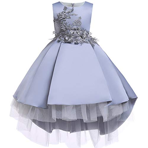 Baby Girls Infant Embroidery Dress Wedding Toddler High-end Dress Flower Dress,D0582-Gray,9 -
