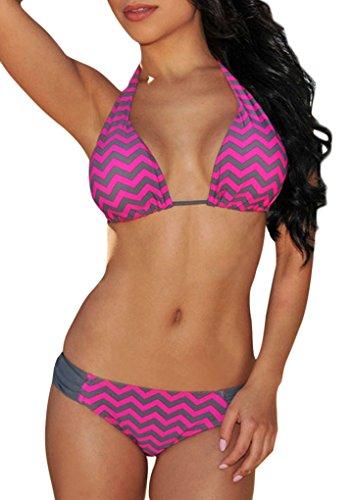 Roswear Women's Fuchsia Chevron Print Triangle Brazilian String Bikini Swimsuit Set Purple Small