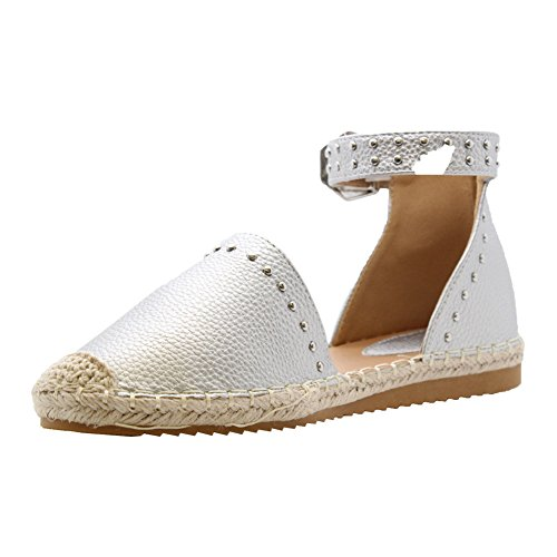 SAUTE STYLES New Ladies Womens Flats Studded Ankle Strap Espadrilles Sandals Pumps Shoes Size 3-8 Silver 3o3xFwkyeg