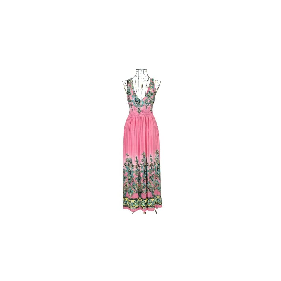 Zicac 2013 Fashion Evening Summer Dresses Sexy Clothes Women Long Maxi Dress Flexible One Size Fit For S XL US 2 8 (Pink)