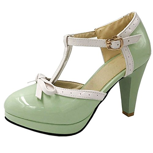 TAOFFEN Women Sandals Green Heel Fashion Wedding Pumps High Strap Bowtie T Summer ATAqr