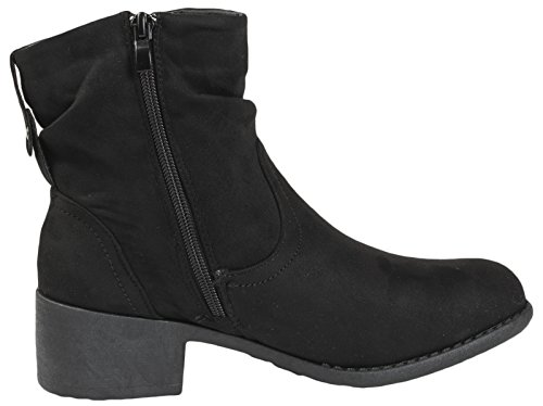 Ankle Lora Dora Womens Up Classic 8 Low Zip Or Leather Heel Black Microfiber Shoes Comfort Faux 3 Lace UK Boots Zip Up 5rrYxCwq