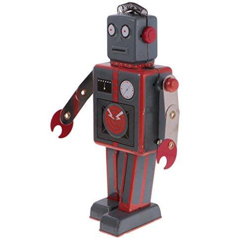 MonkeyJack Vintage Wind Up Tin Toy Clockwork Metal Mechanical Walking Antenna Robot ()