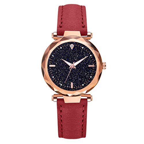 Luxury Ladies Rhombus Glass Diamond Watch Starry Sky Leather Belt Luminous Watch Watches for Women Simple Under 5 ❤ Best Gifts for Lovers