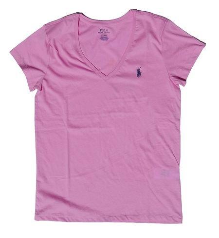 Polo Ralph Lauren Womens Pony Logo V-Neck Tee (Small, Pale Rose) (Ralph Lauren Clothing Women)