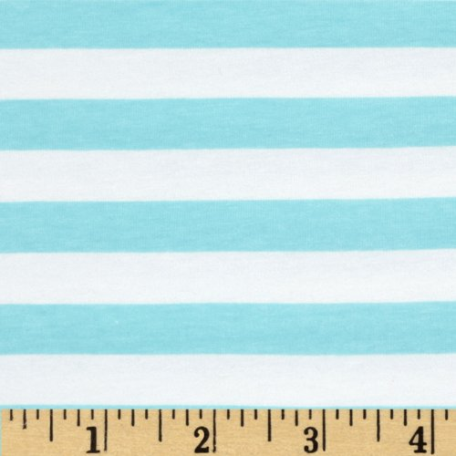Blake Cotton - Riley Blake Cotton Jersey Knit 1/2in Stripes Aqua Fabric By The Yard