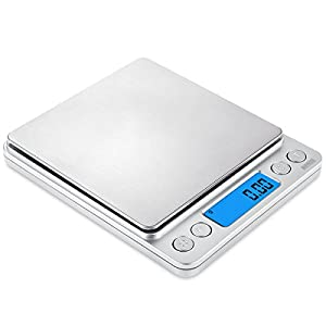 AMIR Digital Kitchen Scale, 500g/ 0.01g Pro Cooking scale with Back-Lit LCD Display, Accuracy Pocket Food Scale, 6 Units, Auto Off, Tare, PCS Function, Stainless Steel, Batteries Included (Silver)