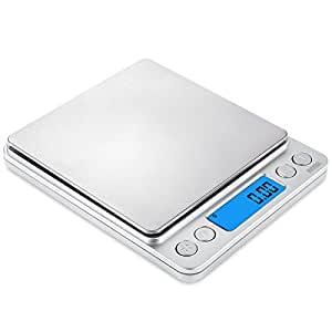AMIR Digital Kitchen Scale, 500g/0.01g Mini Pocket Jewelry Scale, Cooking Food Scale with Back-Lit LCD Display, 2 Trays, 6 Units, Auto Off, Tare, PCS Function, Stainless Steel, Batteries Included