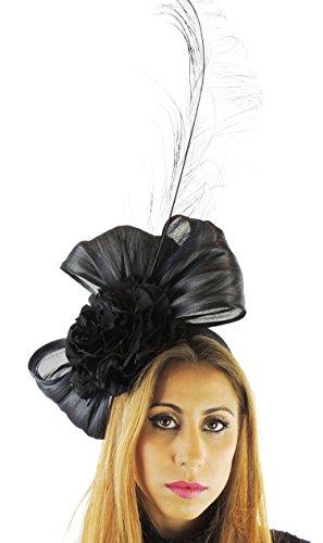 Hats By Cressida Silk Sinamay & Silk Flower Elegant Ladies Ascot Wedding Fascinator Hat Black by Hats By Cressida