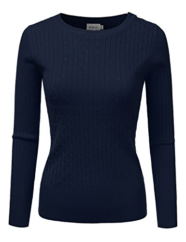 - DRESSIS Womens Ribbed Round Neck Button Shoulder Cable Knit Sweater NAVY XL