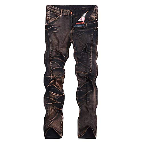 Da Streetwear Pantaloni Di Skinny A Denim Casual Vita Regular Giovane Uomo Jeans Media Denem Stretch Braun In Fit HwxXPdHpq