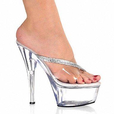 RTRY Zapatillas De Mujer &Amp; Flip-Flops Zapatillas Pvc Summer Party &Amp; Noche Crystal Stiletto Talón Ruby Negro Blanco 5En &Amp; Más US11.5 / EU43 / UK9.5 / CN45