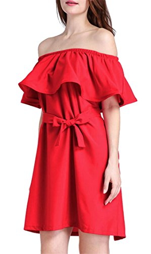 Mini Color Solid Ruffles Dress Sexy Jaycargogo Off Women's Shoulder Sleeve Red 67g7Z4x