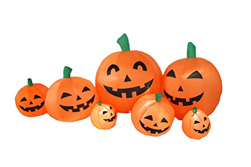 7 Ft Halloween Inflatable Pumpkin Patch Family Lantern Decoration for Indoors (Inflatable Pumpkins)