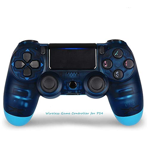 Wireless Game Controller for PS4, Game Joystick for Playstation Four with Double Vibration, Good Choice for Game Lovers - Transparent Blue