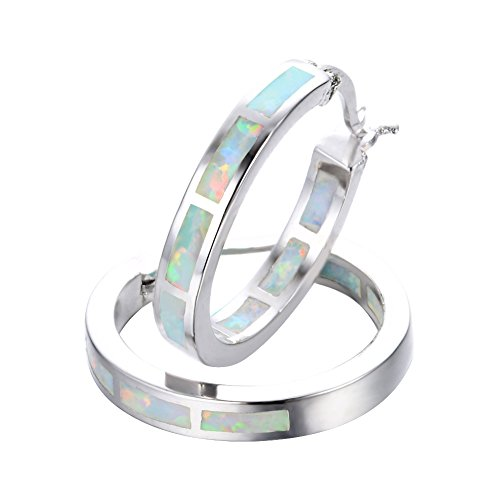[Adeser Jewelry White Gold Opal 925 Best Friend Engagement Wedding Silver Hoop Studs Earrings for Girls] (White Gold Silver Hoop)