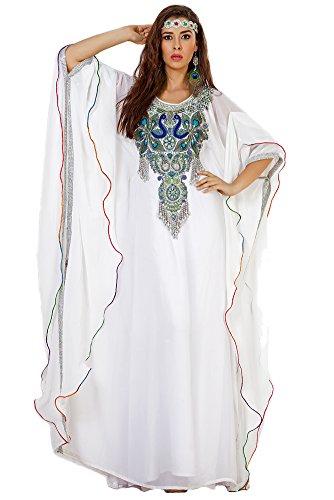 Palas Fashion Women's Designer Arabic Kaftan Maxi Dress White US Size: 10