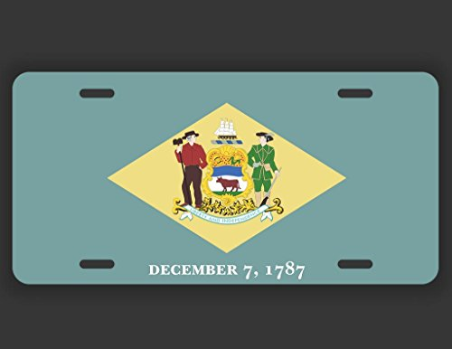 Dover Vanity - JMM Industries Delaware State Flag DE Vanity Novelty License Plate Tag Metal Car Truck 6-Inches by 12-Inches UV Resistant Print UVP019