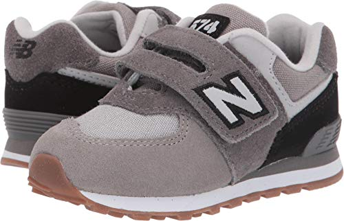 New Balance Boys' Iconic 574 Hook and Loop Sneaker Castle Rock/Black 2 W US Infant ()