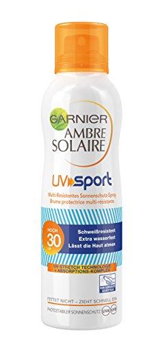 Garnier Ambre Solaire Sonnenschutz Spray UV Sport / schweißfestes Sonnenspray ideal für Sport / LSF 30, 1er Pack - 200 ml