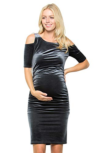 (My Bump Maternity Dress Velvet - Premium Soft Stretch Cut Out Cold Shoulder Baby Shower Photography Party Bodycon Grey X-Large)