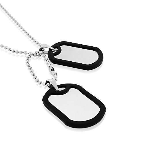- EDFORCE Stainless Steel Black Rubber Silicone Silver-Tone Double Two Dog Tag Necklace Set