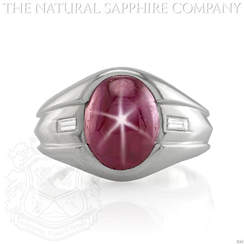 7.21ct. Natural Untreated Burmese Star Ruby Men's ring set in platinum with 2 Dia 0.20ct. Total (J242)