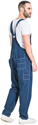 Wash Clothing Company Mens Relaxed Fit Stonewash Denim Overalls Fashion Bib-Overalls