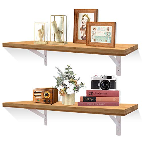 XiaZ Bamboo Floating Wall Shelves, Wall Mount Shelf for Bedroom, Kitchen, Bathroom, Office, Living Room, Decorative Mounting Storage Shelfs for Books, Set of 2