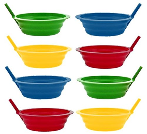 Green Direct Sippy-Bowl 22oz Plastic Bowl with Builed in Straw for Kids Assorted Colors Blue-Red-Green-Yellow (8)