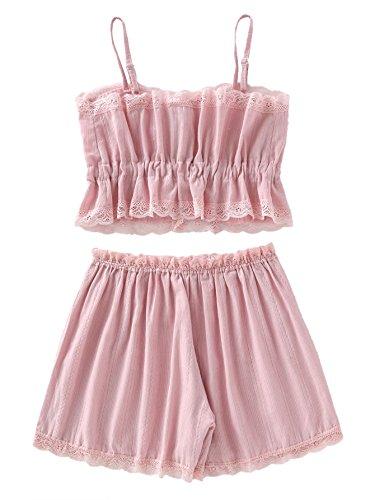 e93963ef1e SheIn Women s Lace Cami and Shorts Pajamas Set Sleepwear Nightwear