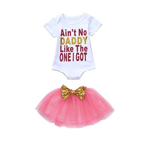 Hatoys 2PCS Baby Girls Letter Romper+Tutu Skirt Clothing Outfits Skirt Set (6-12M, White) - Pink Eyelet Rose Dress Bow