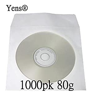 Amazon.com: Yens 1000 pcs White CD DVD Paper Sleeves Envelopes ...