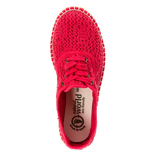 Natural World Casual Women Flat Shoes Lace Up Espadrille Fresa Pam9W7