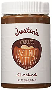 Justin's Nut Butter Natural Chocolate Hazelnut Blend, 16 Ounce plastic jars (Pack of 3)