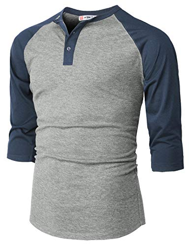 - H2H Mens Casual Slim Fit Henley T-Shirts Raglan Baseball 3/4 Sleeve Gray US XL/Asia 2XL (CMTTS237)