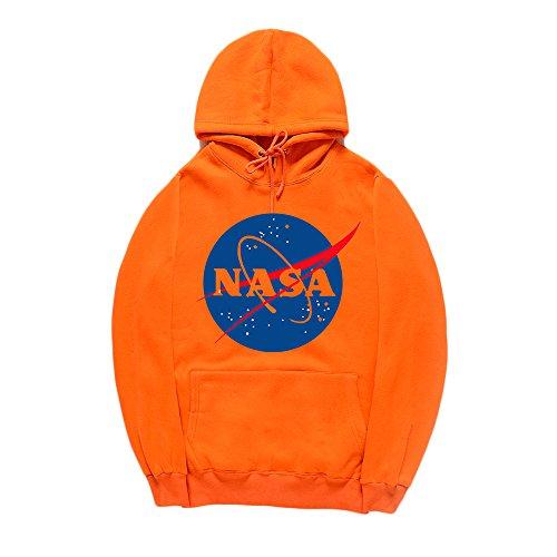 (CORIRESHA Fashion NASA Logo Print Hoodie Sweatshirt with Kangaroo Pocket(Smaller Than Standard Size))