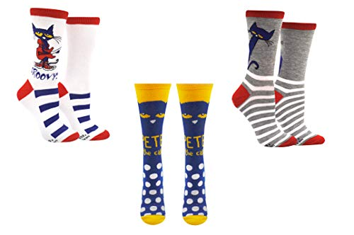 Pete the Cat Socks Gifts (Adult) (3 Pair) - (Women) Pete-the-Cat Groovy Crew Socks - Fits Shoe Size: 4-10 (Ladies)]()
