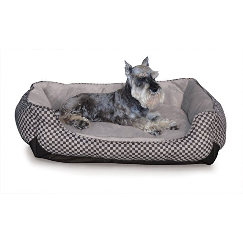 K&H Pet Products Self-Warming Lounge Sleeper Pet Bed Medium Black Square Print 24