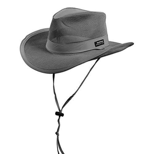 "Panama Jack Mesh Crown Safari Sun Hat, 3"" Brim, Adjustable Chin Cord, UPF (SPF) 50+ Sun Protection (Charcoal, Large)"