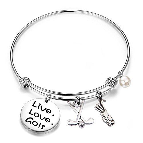 - FEELMEM Golf Bracelet Live Love Golf Expandable Charm Bracelet Golf Jewelry Gift for Golf Lover/Golf Club/Golf Team (Silver)