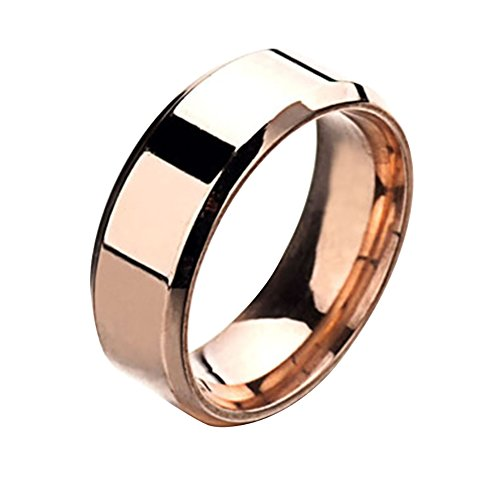 - Wintefei Fashion Simple Unisex Lovers Stainless Steel Mirror Finger Rings Jewelry Gifts - Rose Gold US 7