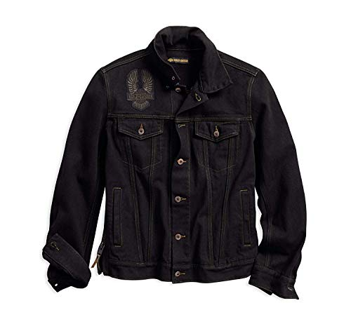 Harley-Davidson Official Men's Eagle Appliqué Slim Fit Denim Jacket, Black (Large) ()