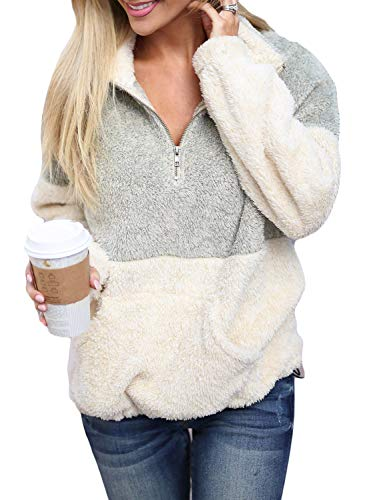 Acelitt Women Cozy Loose Casual Fuzzy Winter Fall Soft Color Block Oversize Fluffy Fleece Pullover Pockets Outwear Coat Light Grey Medium