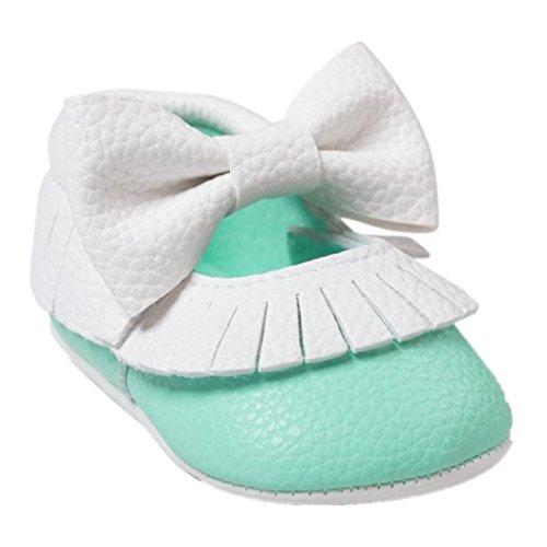 Jamicy® Baby Mädchen Bowknot Quasten Schuhe süße weiche Sohle Prinzessin Freizeitschuhe tadelloses Grün