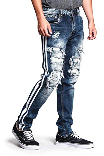 Victorious Men's Distressed Double Striped Skinny Underlayered Ripped Jeans DL1140 - Indigo/White - 34/34 - B3F