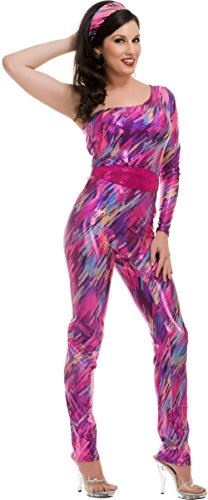 Dance Trends Costumes - Adults Women's Fuchsia Yazzercise 80s Dance Exercise Trend Costume Large 11-13